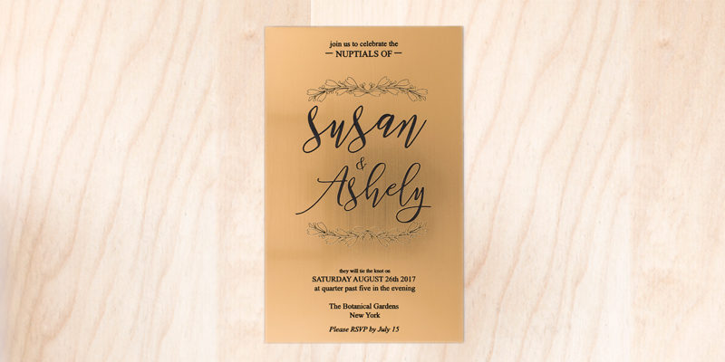 Gold On Black Acrylic Wedding Invitation