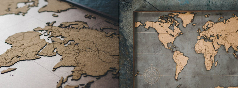 Laser Cut Cork World Map Wall Art