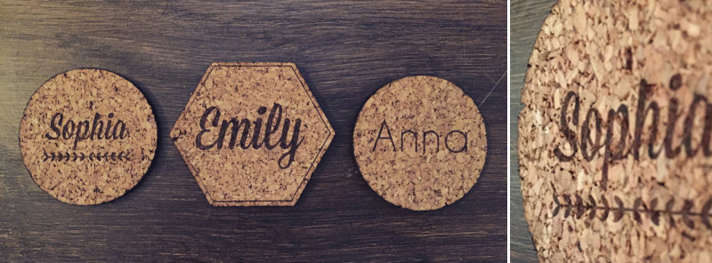Laser Cut Personalized Cork Coasters