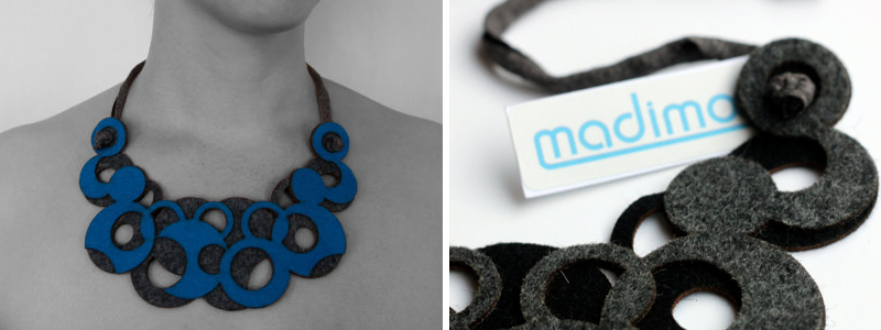 Laser cut felt necklace from Madimooi