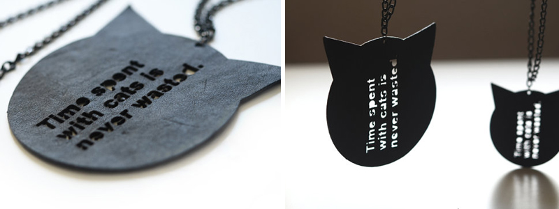 Laser cut leather cat shaped necklace from ZoraDesign