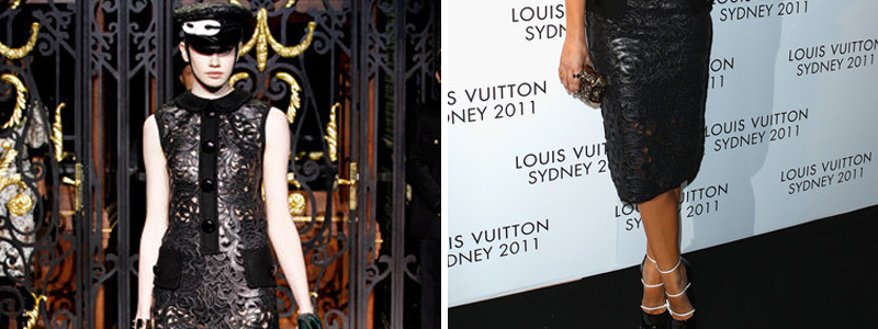 Laser cut leather dress from Louis Vuitton