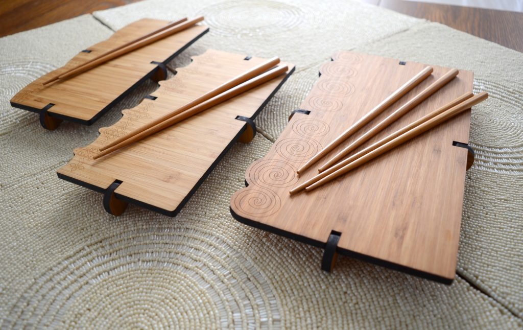 GioGio Design Laser Cut Bamboo Sushi Boards