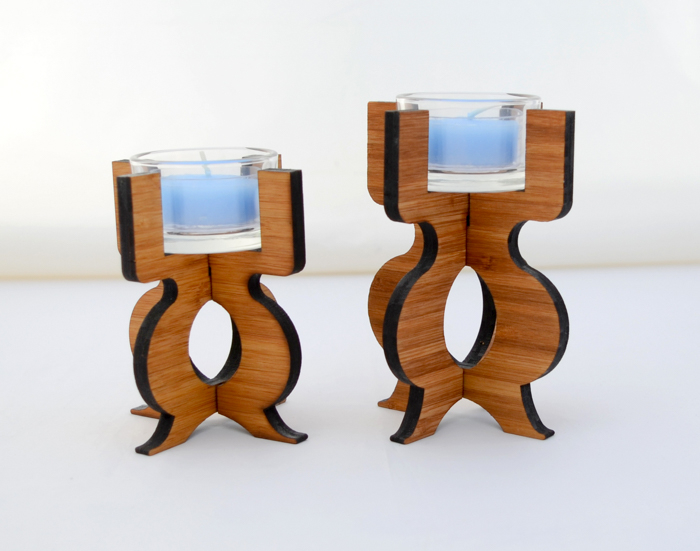 GioGio Design Laser Cut Bamboo Candle Holder
