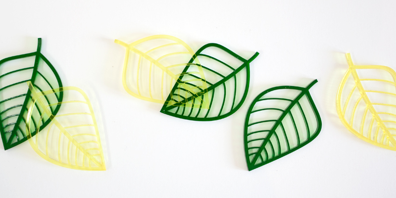 Laser Cut Green And Yellow Tinted Acrylic Leaves