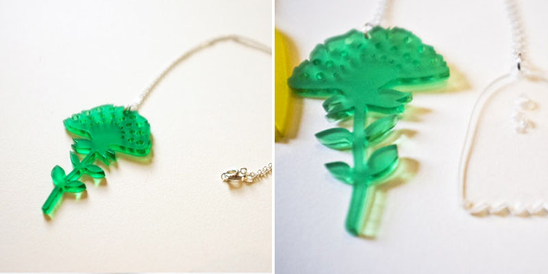 Laser Cut Green Tinted Acrylic Flower Necklace From JoCheungIllustration