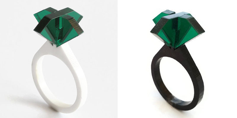 Laser Cut Green Tinted Acrylic Rings From DigitalHandmade