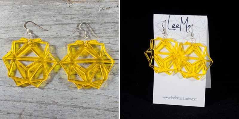 Laser Cut Yellow Tinted Acrylic Origami Earrings From LeeMoDesigns