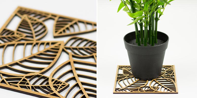 Premium Veneer Bamboo MDF Laser Cut Plant Trivet