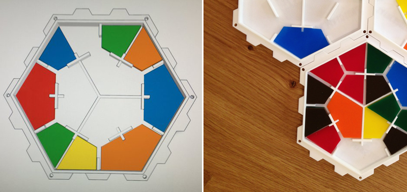 Sayre Brothers PentaHex Board Game Prototype Comparison