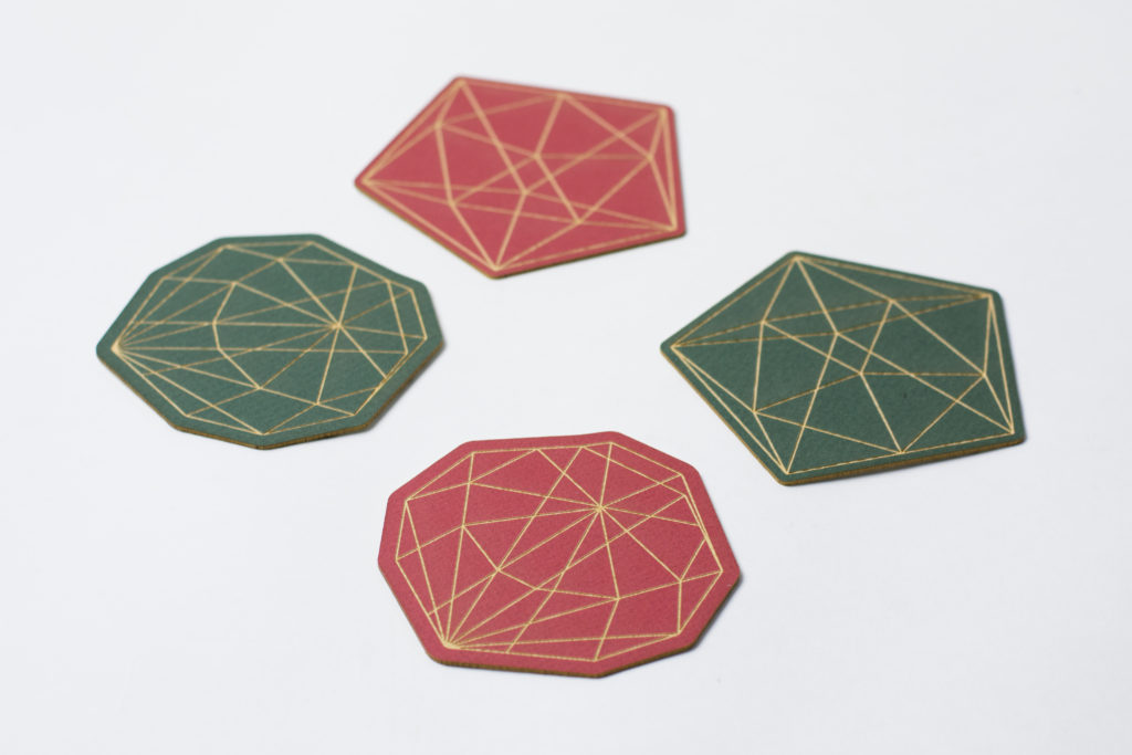 Green Red Custom Cut Mat Board Coasters