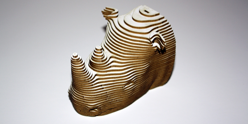 Laser Cut Stacked Bamboo Rhino