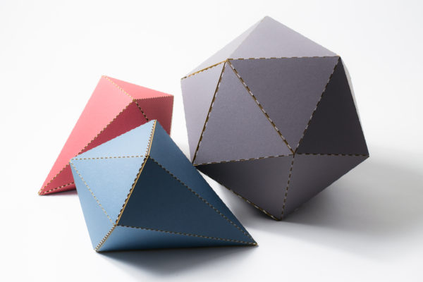 Red Blue Gray Mat Board Folded Forms
