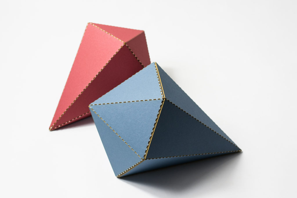 Red Blue Custom Cut Mat Board Folded Forms