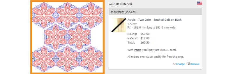 Snowflake Line Laser Engraving Cost Comparison