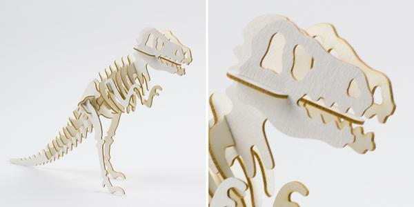Laser Cut Beige Taskboard T-Rex 3D interlocking Models