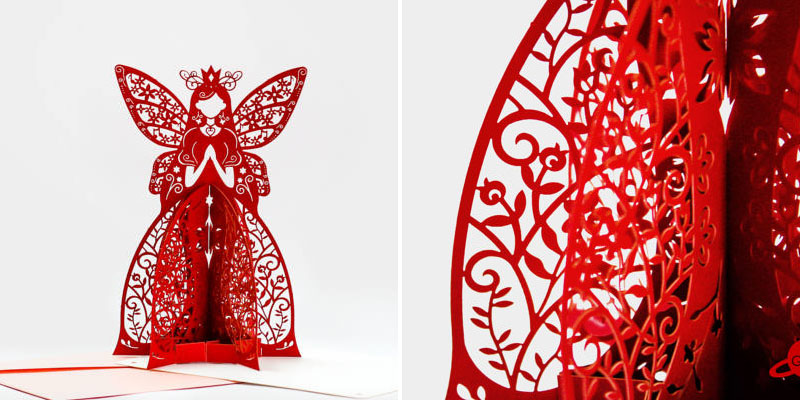 Laser Cut Red Cardstock Fairy Greeting Card