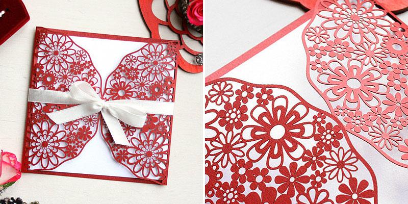 Laser Cut Red Cardstock Paper Wedding Invitation