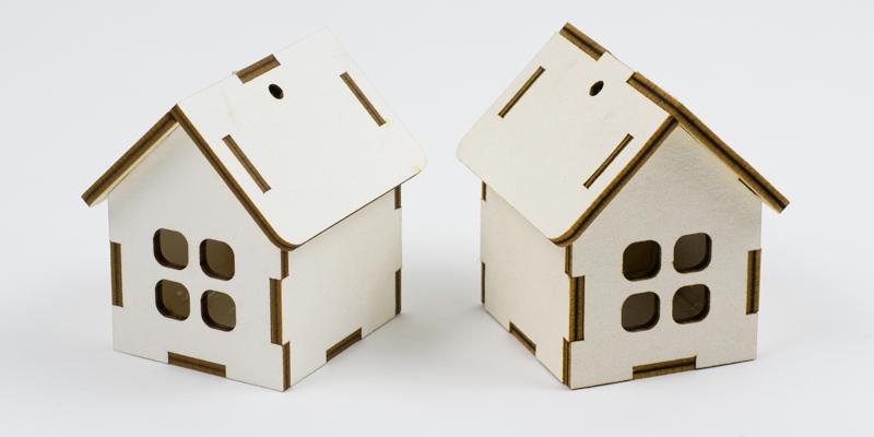 Laser Cut White Taskboard Houses