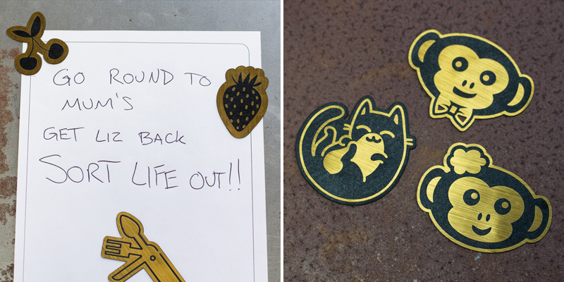 Laser Cut Gold On Black Fridge Magnets