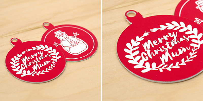 Laser Cut Red On White Acrylic Christmas Decorations