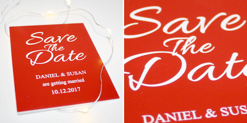 Laser Cut Red On White Save The Date Wedding Invitation