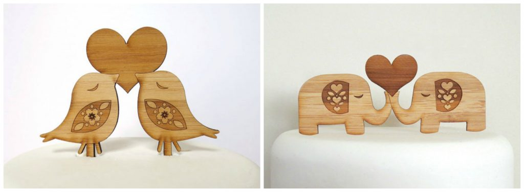 Laser Cut Wooden Wedding Cake Toppers