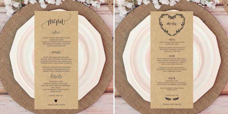Paper Wedding Menus