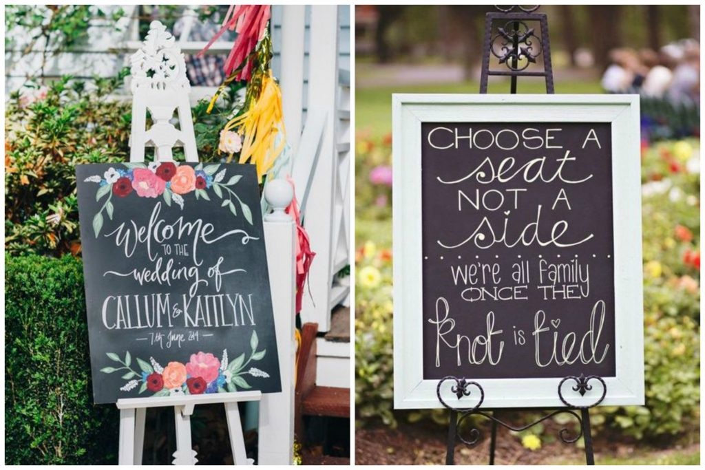 Chalkboard Wedding Signs On Easels