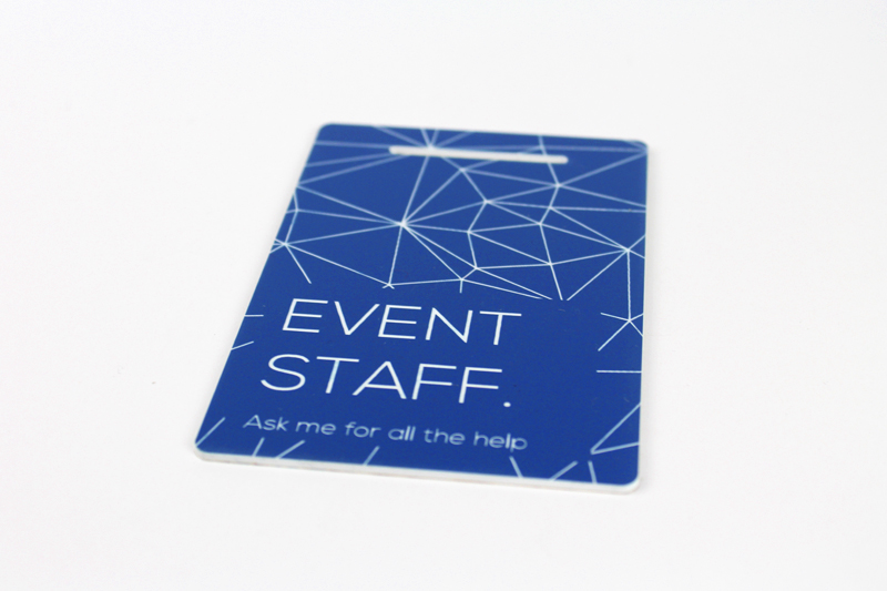 Blue On White Acrylic Event Badges
