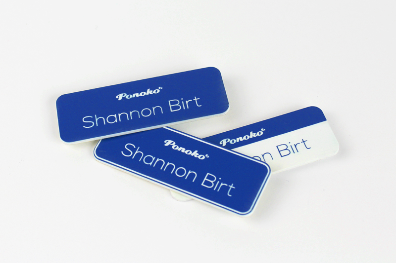 Blue On White Acrylic Name Badges
