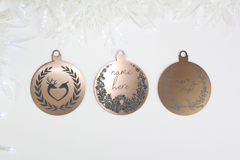 Bronze On Black Acrylic 3 - Holiday Ornaments