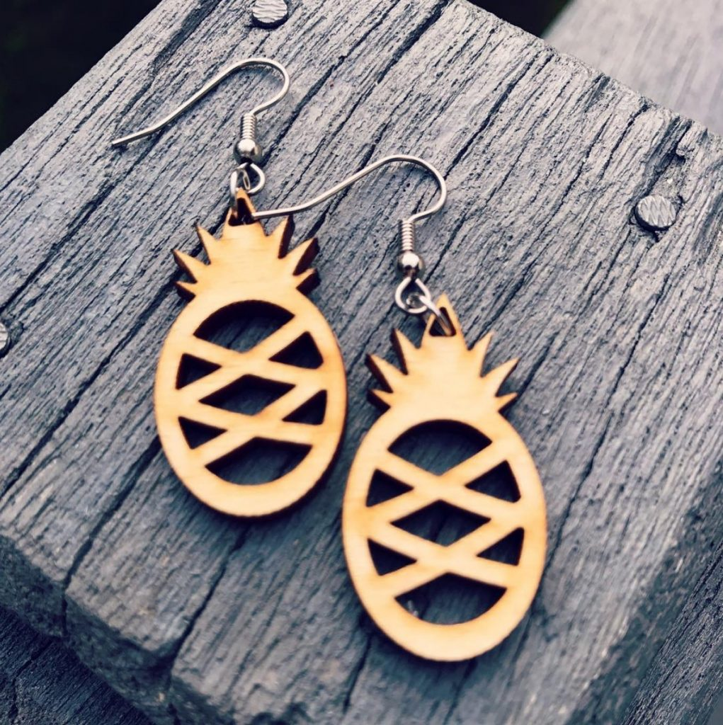 Cottage On The Cliff - Pineapple Wood Earrings