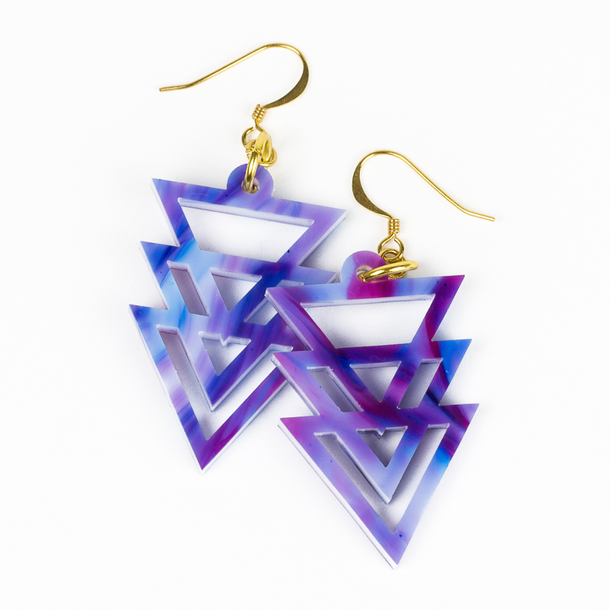 Swirl Acrylics 2 - Purple Geometric Earrings
