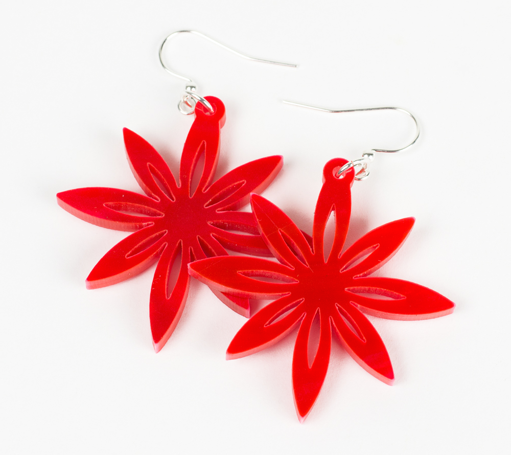 Swirl Acrylics 3 - Red Floral Earrings
