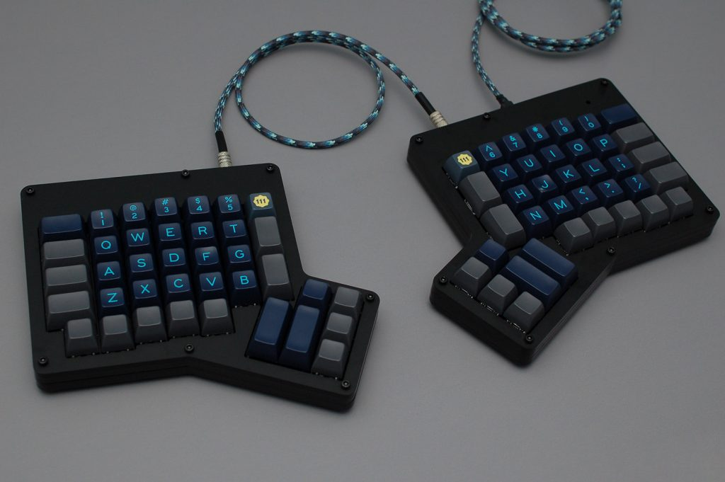 Ergonomic Mechanical Keyboard 4 - Profet Black Matte Acrylic ErgoDox