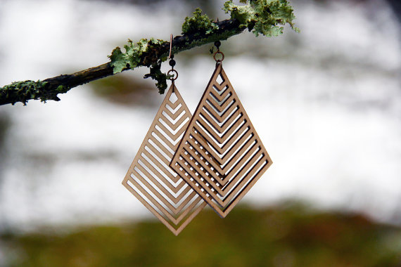 Laser Cut Products 02 - MoodWoodShop Geometric Earrings