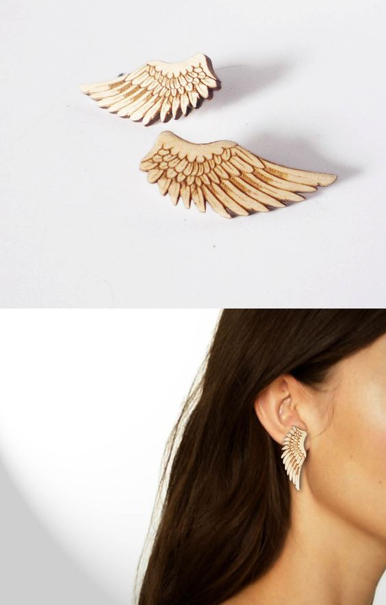 Laser Cut Products 05 - VectorCloud Wing Earrings