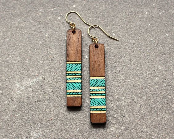 Laser Cut Products 10 - ShopJoyo Painted Wood Earrings