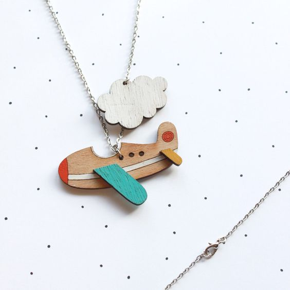 Laser Cut Products 12 - So Little Time Co Aeroplane Necklace