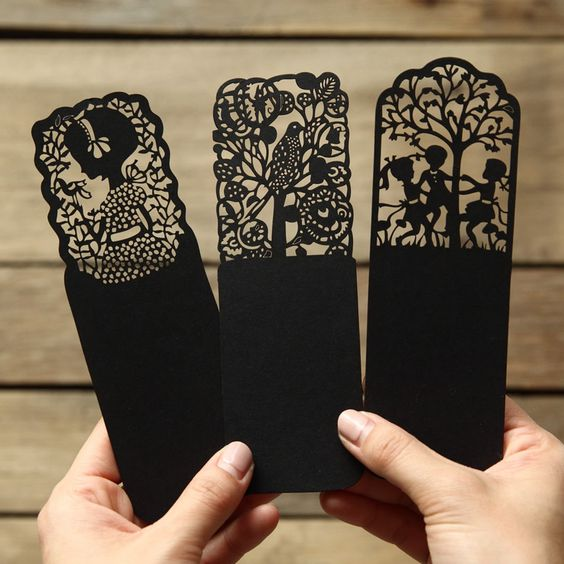 Laser Cut Products 37 - Black Wood Bookmarks