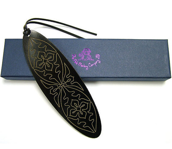 Laser Cut Products 42 - PinkMonkeyCompany Black Leather Bookmark