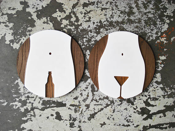 Laser Cut Products 49 - Grayskunk Bathroom Signs