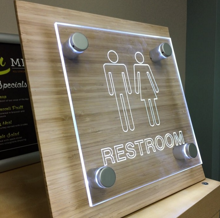 Laser Cut Products 52 - Clear Acrylic LED Restroom Sign