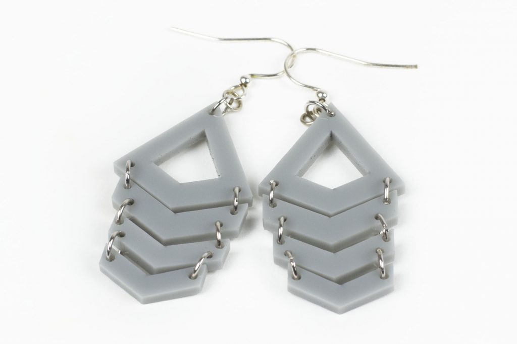3 Gray Acrylic Sheet - Chevron Earrings