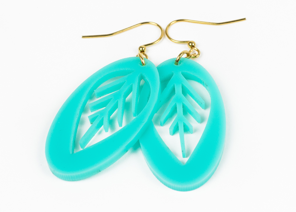 4 Turquoise Acrylic Sheet - Leaf Earrings