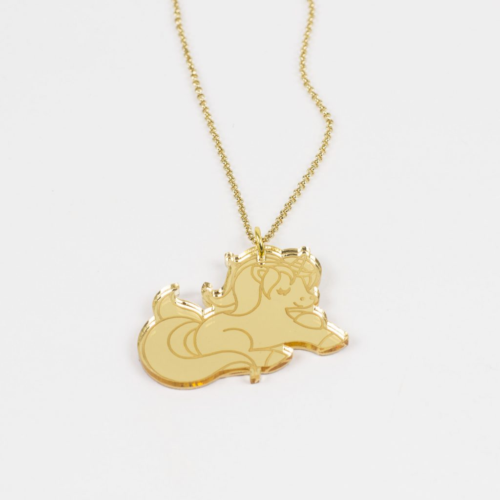 Gold Mirror Acrylic 4 - Unicorn Necklace