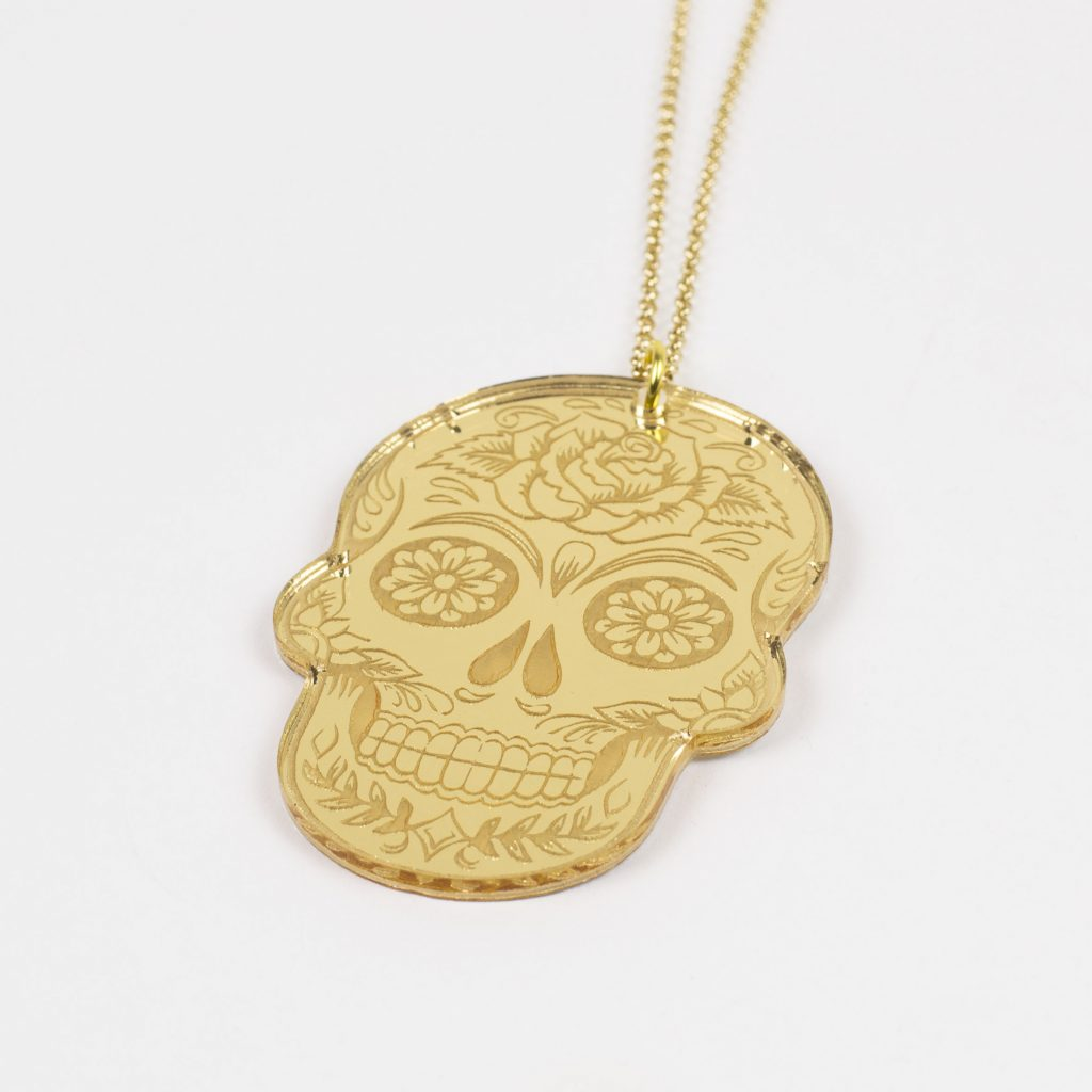 Gold Mirror Acrylic 5 - Skull Necklace