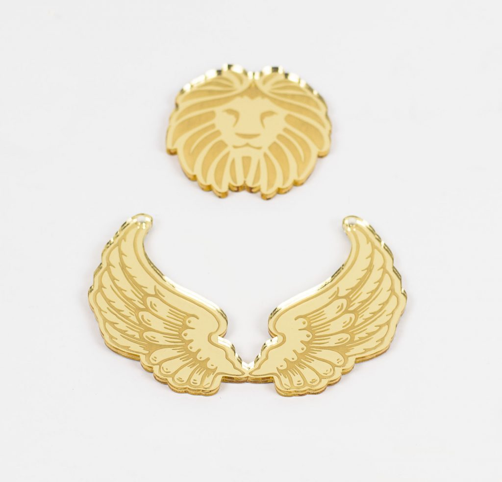 Gold Mirror Acrylic 6 - Lion Wings