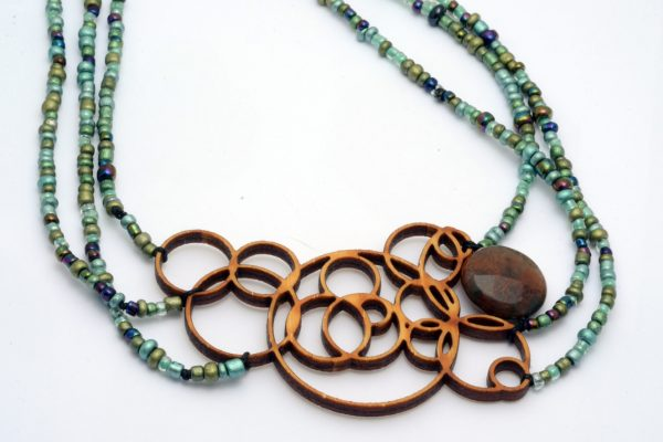 Melanie Lynn Design 1 - Unique Wooden Jewelry - Beaded Laser Cut Bamboo With Agate